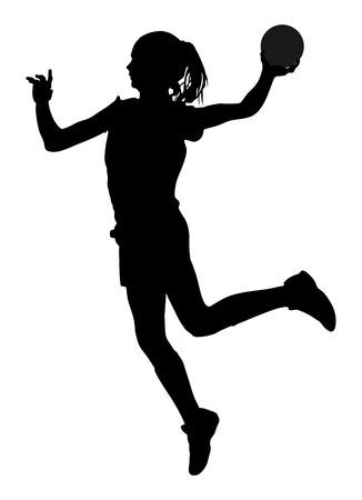Handbal speler in actie vector silhouet illustratie op een witte achtergrond. Vrouw handbal speler symbool. Handbal meisje springen in de lucht.