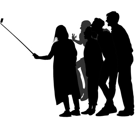 crowd happy people: Selfie teenagers tourists taking pictures vector silhouette illustration isolated on white background. Taking selfie - hand hold monopod with mobile phone. Illustration