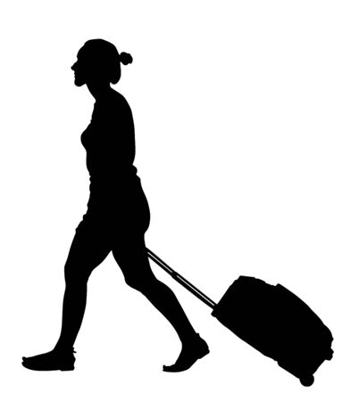 Tourist woman traveler walking and carrying his rolling suitcase vector silhouette illustration isolated on white background.