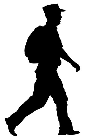 Soldier returning Home, walking back to home silhouette illustration. (Memorial day, Veterans day, 4th of july, Independence day). Military father.