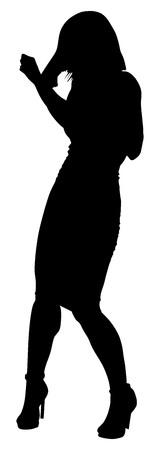Beliebte Sänger Superstar Vektor Silhouette Illustration auf weißem Hintergrund. Attraktive Musikkünstler auf der Bühne. Singer Frau, Mädchen Künstler gegen die öffentliche Konzert. Vektorgrafik