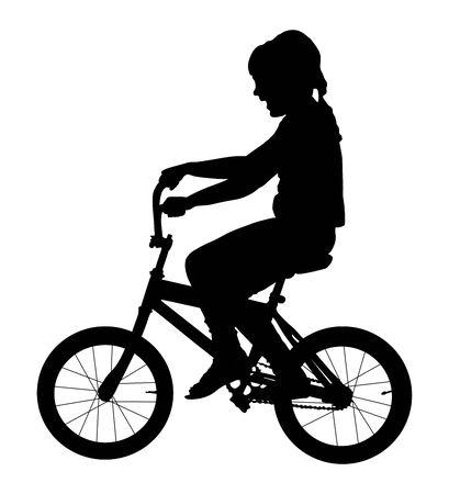 Ilustración de silueta de vector de bicicleta de montar a caballo de niña aislada sobre fondo blanco. niño feliz en bicicleta. Niño riendo. Primera expresión de regalo de cumpleaños. Ilustración de vector