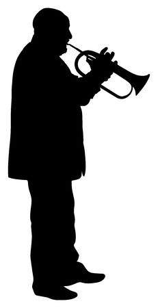 Man with trumpet on stage vector silhouette isolated on white background. Music man.
