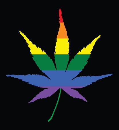Pride marijuana icon. Isolated rainbow vector cannabis leaf. Rainbow Flag on cannabis background. Drug policy. Legalization of marijuana. Medical marijuana supporter .