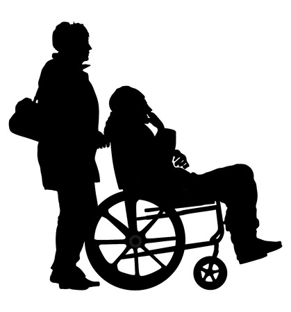 Disabled man in wheelchair vector silhouette illustration and woman asistent.