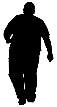 excess: Fat man vector silhouette isolated on white background. Fat boy vector. Illustration