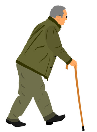 Old man person walking with stick. Vector character isolated on white background. Senior mature, old people active life. Person walking with stick. Grandpa vector.