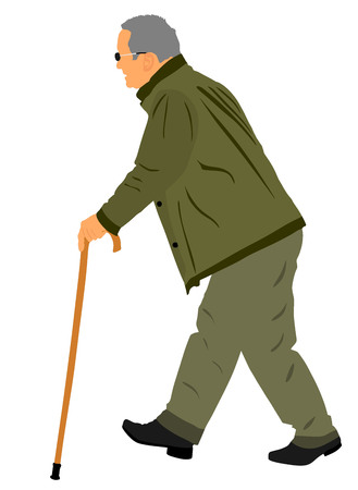 Old man person walking with stick. Vector character isolated on white background. Senior mature, old people active life. Person walking with stick. Grandpa vector. Ilustração Vetorial