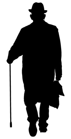 Old man person walking on the street portrait. Vector character illustration isolated on white background. Senior mature, old people active life. Grandpa vector with stick and bag.
