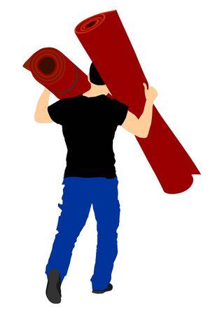 Mann, der den gerollten Teppich- und Tapetenvektor lokalisiert auf weißem Hintergrund trägt. Großhandel, Logistik, Verladung, Versand. Tätigkeit im Lager. Umzugsservice für den Transport. Anpassung zu Hause.