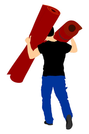 delivery room: Man carrying rolled carpet by moving vector illustration isolated on white background.