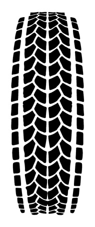tread: Texture of vector tire track , tire mark, tire tread, tread marks silhouettepattern for machine and vehicle isolated on white background.