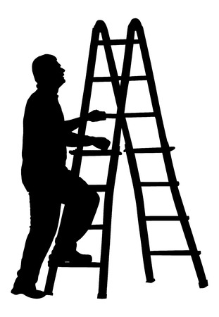 Builder climb to ladder vector silhouette isolated on white background. Construction worker with ladder walking. Painter at work.