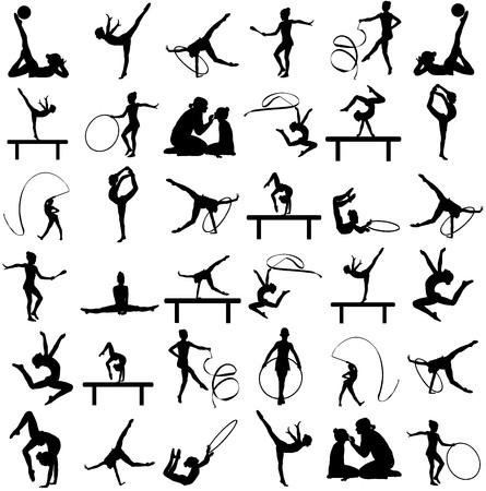 Donna atleta in palestra esercizio. Figura di figura di balletto ragazza isolato su sfondo bianco. Illustrazione silhouette nera di donna ginnastica. Ginnastica ritmica vettore silhouette grande gruppo.