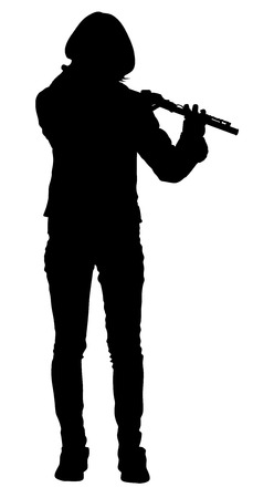 Flute silhouette, music playing flutist musician performer with musical instrument, illustration. Street performer. Music lady portrait. Illustration