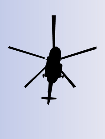 Silhouette of a helicopter vector illustration isolated on white background.