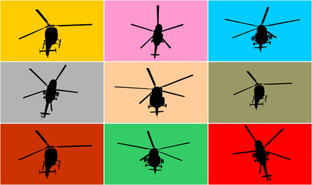 sikorsky: Silhouette of a helicopter vector illustration isolated on color background. Group of several helicopters.