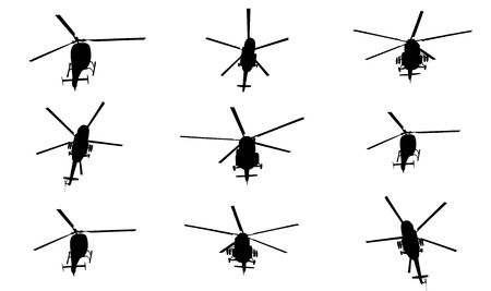 Silhouette of a helicopter vector illustration isolated on white background. Group of several helicopters.
