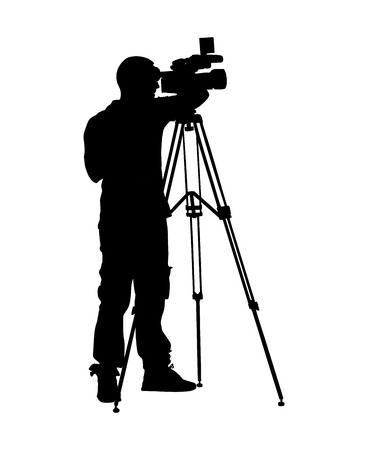 Cameraman silhouette with video camera in studio isolated on background. Vector illustration.