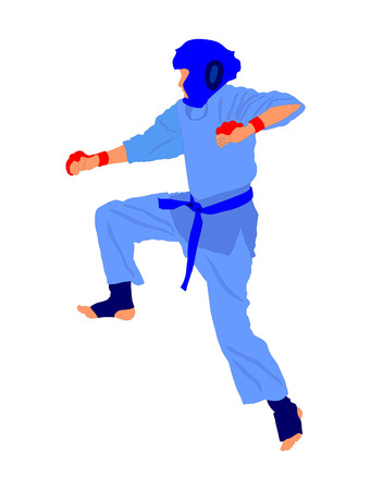 Karate pose vector isolated on white background.
