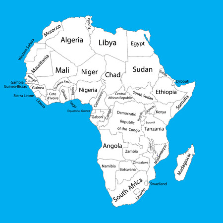 somali: Editable blank vector map of Africa. Vector map of Africa isolated on background. High detailed. Separated countries map of Africa.