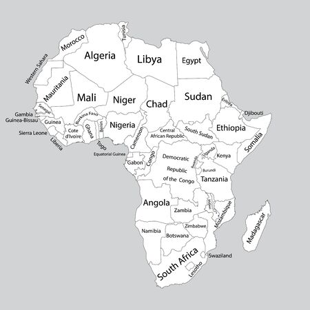 Editable blank vector map of Africa. Vector map of Africa isolated on background. High detailed. Separated countries map of Africa. Banque d'images - 128315429