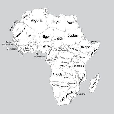 Mappa vettoriale vuota modificabile dell'Africa. Programma di vettore dell'Africa isolato su priorità bassa. Alto dettagliato. Mappa dei paesi separati dell'Africa.
