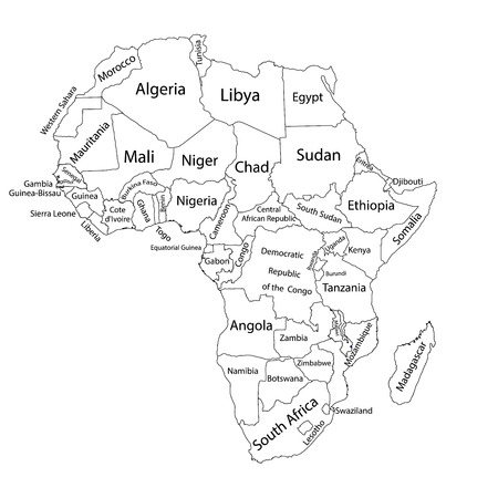 Editable blank vector map of Africa. Vector map of Africa isolated on background. High detailed. Separated countries map of Africa.