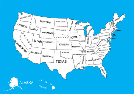 Editable blank vector map of United States. Vector map of United states of America isolated on background. High detailed usa map.Administrative divisions of United States, separated countries.. Illustration