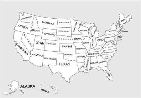 Editable blank vector map of United States. Vector map of United states of America isolated on background. High detailed usa map.Administrative divisions of United States, separated countries. 矢量图像