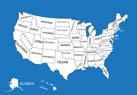 georgia: Editable blank vector map of United States. Vector map of United states of America isolated on background. High detailed usa map.Administrative divisions of United States, separated countries.. Illustration