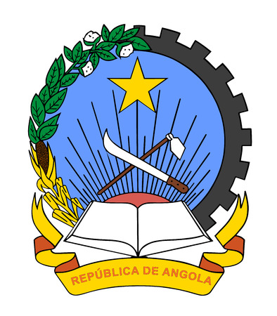 Republic of Angola vector coat of arms, seal or national emblem, isolated on white background. The national coat of arms of Angola