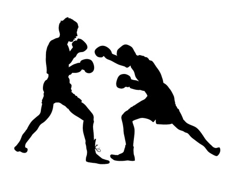 Two boxers in ring vector silhouette illustration isolated on white background.