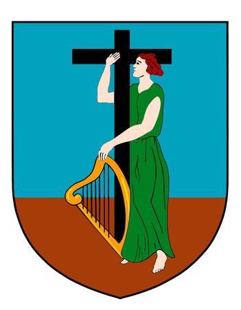 montserrat: Coat of arms of the British overseas territory Montserrat.