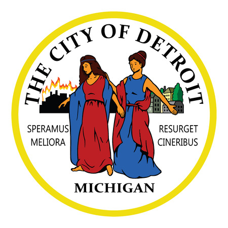 city coat of arms: USA City COA, coat of arms of Detroit, Michigan vector illustration. Seal of Detroit city. Illustration