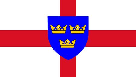 Vector flag of East Anglia, England. Close Up. Official flag of the English county of East Anglia.