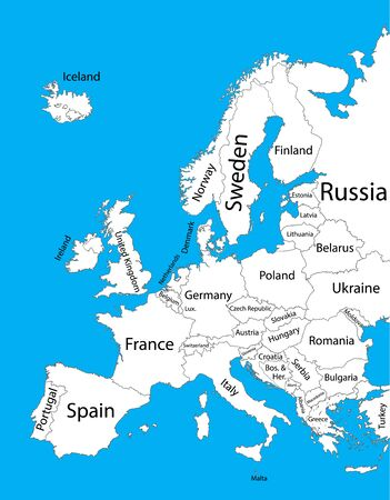 Editable blank vector map of Europe. Vector map of Europe isolated on background. High detailed. Autonomous communities of Europe. Administrative divisions of Europe, separated provinces. Vektorové ilustrace