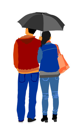 couple in rain: Couple in love in the rain vector illustration. Happy time for loving couple.