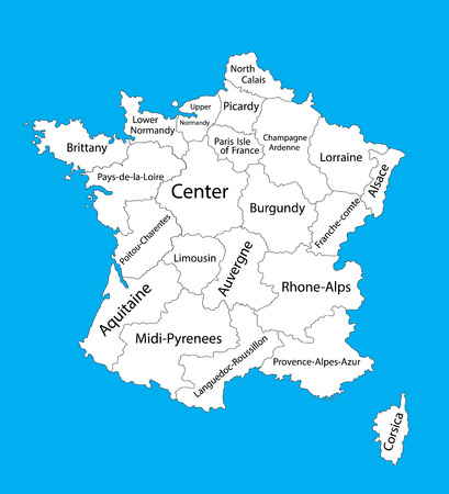 strasbourg: Editable blank vector map of France. Vector map of France isolated on background. High detailed. Autonomous communities of France. Administrative divisions of France, separated provinces. Illustration