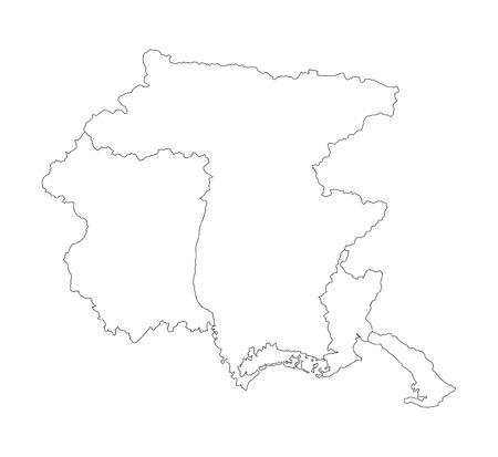 Friuli-Venezia Giulia, Italia, vettore mappa contorno illustrazione isolato su sfondo bianco. Vettoriali