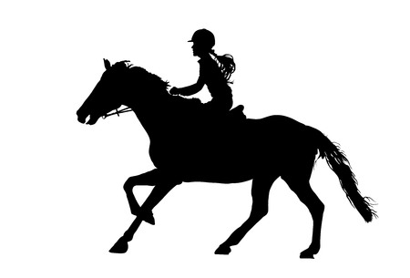 Prance horse black silhouette, vector illustration isolated on white background.Beautiful girl polo player in horse race.