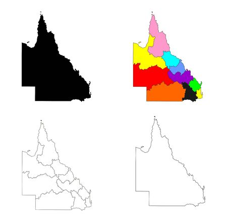 Queensland vector map illustration isolated on white background. Queensland silhouette map, par of Australia. Australian territory. Ilustracja