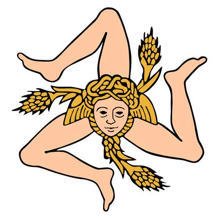 Sicile signe illustration vectorielle. Armoiries de la Sicile, sceau, emblème. Armoiries siciliennes originales et simples