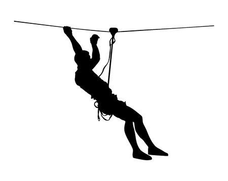 Extreme sportman pakte met touw. Man klimmen vector silhouet illustratie, geïsoleerd op de witte achtergrond. Sport weekand actie in avonturenpark touwladder. Ropeway voor de lol, teambuilding