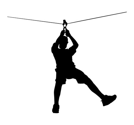 Extreme sportman pakte met touw. Man klimmen vector silhouet illustratie, geïsoleerd op de witte achtergrond. Sport weekand actie in avonturenpark touwladder. Ropeway voor de lol, teambuilding Vector Illustratie