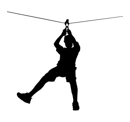 Extreme sportsman took down with rope. Man climbing vector silhouette illustration, isolated on the white background. Sport weekand action in adventure park rope ladder. Ropeway for fun, team building