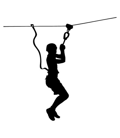Extreme sportsman took down with rope. Man climbing vector silhouette illustration, isolated on the white background. Sport weekand action in adventure park rope ladder. Ropeway for fun, team building Imagens - 61491457