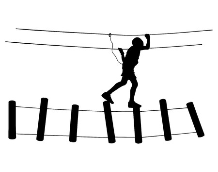 ropeway: Extreme sportsman took down with rope. Man climbing vector silhouette illustration, isolated on the white background. Sport weekand action in adventure park rope ladder. Ropeway for fun, team building