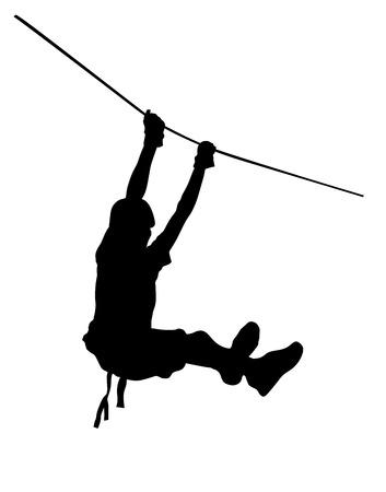 Extremsportler nahm mit einem Seil nach unten. Man Klettern Vektor Silhouette Illustration, isoliert auf dem weißen Hintergrund. Sport weekand Aktion im Abenteuerpark Strickleiter. Ropeway für Spaß, Teambildung