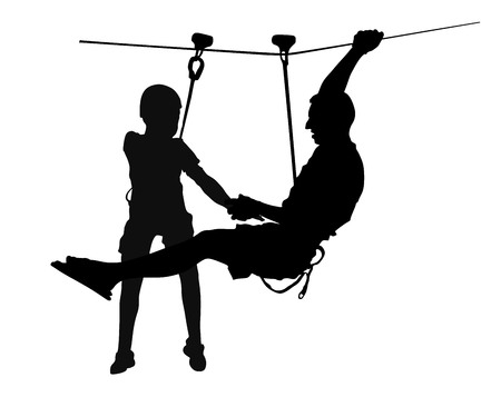 Extreme sportsman took down with rope. Man climbing vector silhouette illustration, isolated. Rescue firework unit. Sport weekend action in adventure park rope ladder. Ropeway for fun, father and son. Illustration